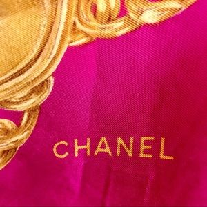 "CHANEL Silk Foulard Large & Luxe  33.5"" EXCELLENT"